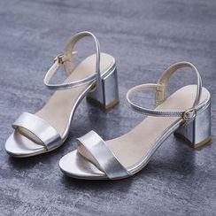 Sesame - Block Heel Genuine Leather Sandals