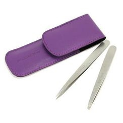 Tweezerman - Petite Tweeze Set: Slant Tweezer + Point Tweezer - (With Lavendar Leather Case)