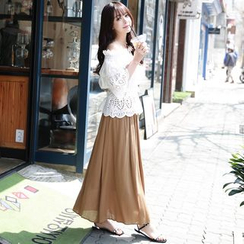 Dowisi - Set : Off-shoulder Lace Top + Maxi Skirt