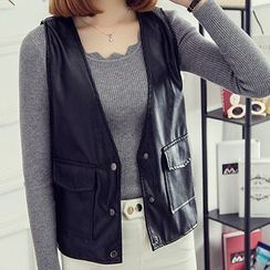Glen Glam - Faux Leather Vest