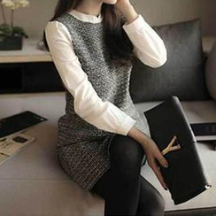 Dowisi - Chiffon-Sleeve Tweed Dress