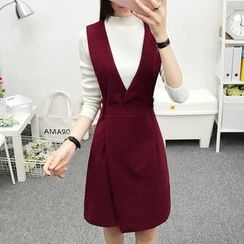 Cottony - Set: Mock Neck Knit Top + Pinafore Dress with Belt