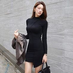 Gl.bY - Long-Sleeve Asymmetric Sheath Dress