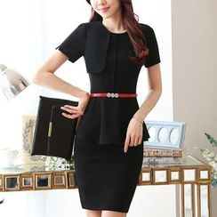 Princess Min - Set: Short-Sleeve Peplum Top + Pencil Skirt