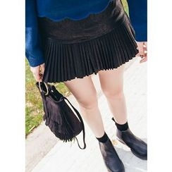 Chlo.D.Manon - Accordion-Pleat Hem Faux-Leather Mini Skirt