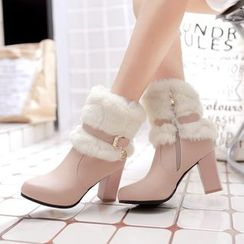 Pastel Pairs - Furry Trim High Heel Ankle Boots