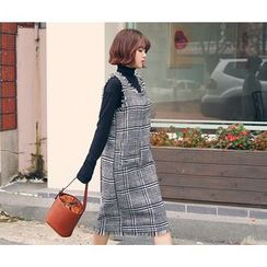 HOTPING - Fringed-Trim Checked Dress