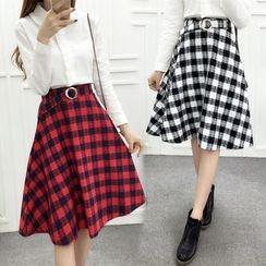 Yohana - Plaid A-Line Midi Skirt