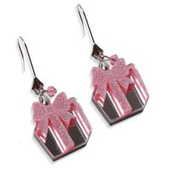 Sweet & Co. - Glitter Pink Present Dangle Silver Earrings