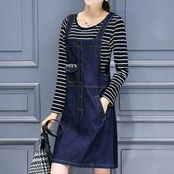 Neeya - Set : Stripe Long-Sleeve T-shirt + Denim Pinafore