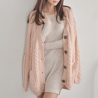 Bongjashop - V-Neck Cable-Knit Cardigan