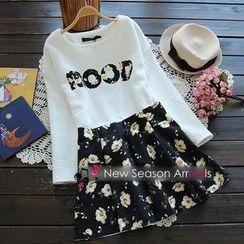 Flower Idea - Set: Lettering Top + Floral A-Line Skirt