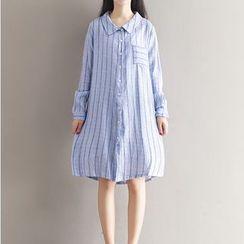 Clover Dream - Long-Sleeve Striped Shirt Dress