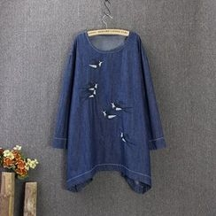Blue Rose - Swallow Embroidered Denim Tunic