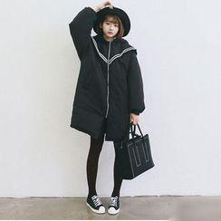 BZY - 條紋連帽夾棉大衣