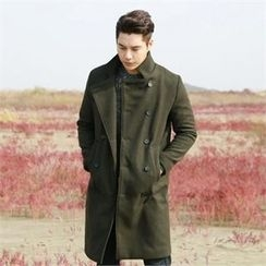 BYMONO - Stand-Collar Double-Breasted Wool Blend Coat