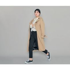 HOTPING - Flap-Front Trench Coat With Sash