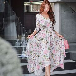 Dabuwawa - 3/4-Sleeve Floral Dress