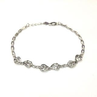 MaBelle - 14K White Gold Diamond-Cut Leaf Segment Link Bracelet (6.5'')