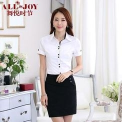 OJOY - Set: Short-Sleeve Shirt + Pencil Skirt