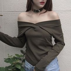 BZY - Ribbed Off-Shoulder Top with Choker