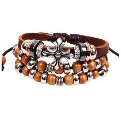 KINNO - Bead Multi-Strand Genuine Leather Bracelet