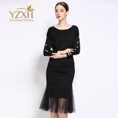 Ameous - Set: Beaded Knit Top + Skirt
