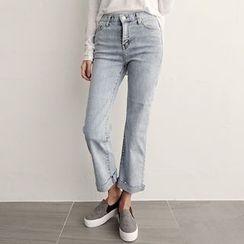 NIPONJJUYA - Cuff-Hem Washed Straight-Cut Jeans