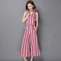 Sienne - Set: Striped Chiffon Tank Top + Wide Leg Pants