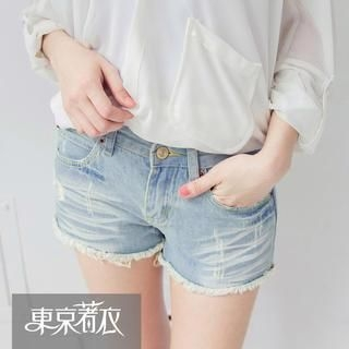 Tokyo Fashion - Distressed Fray-Hem Denim Shorts