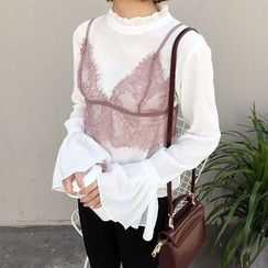 Mayflower - Set: Frill Trim Long Sleeve Top + Lace Camisole Top