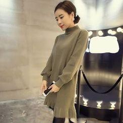 Bloombloom - High Neck Ruffle Hem Long Sleeve Knit Dress