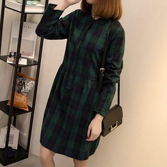 Fashion Street - Plaid Long-Sleeve Dress