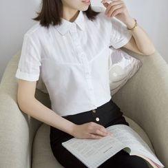 幾米寶兒 - 短袖拼接襯衫