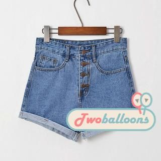 JVL - High-Waist Buttoned Denim Shorts