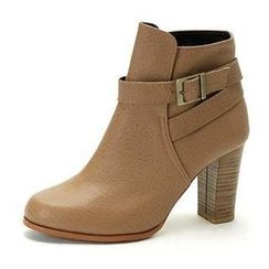 MODELSIS - Buckled Genuine Leather Ankle Boots