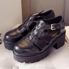 Mancienne - Cutout Chunky-Heel Sandals