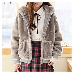 Sechuna - Faux-Fur Zip-Up Hoodie Jacket