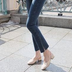 Seoul Fashion - Slit-Hem Boot-Cut Jeans
