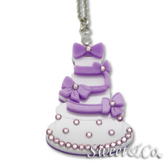 Sweet & Co. - Sweet Purple dolly cake swarovski pendant silver necklace
