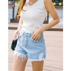 GUMZZI - Distressed Denim Shorts