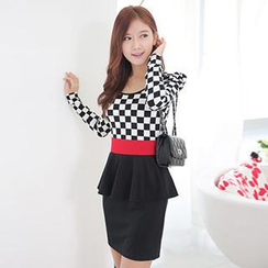 Romantica - Long-Sleeve Check Panel Peplum Dress