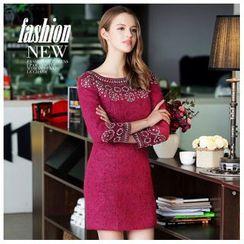 Ozipan - Long-Sleeve Wool Blend Beaded Dress