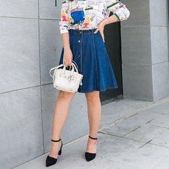 Amizi - Denim A-Line Skirt