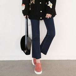Seoul Fashion - Fray-Hem Boot-Cut Jeans