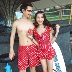 Little Dolphin - Couple Set: Dotted Swimdress / Swim Shorts