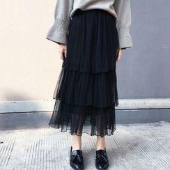 Cloud Nine - Tiered Pleated Mesh Skirt