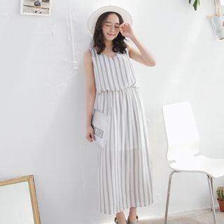 Tokyo Fashion - Sleeveless Slit-Side Striped Dress