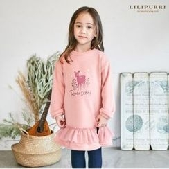 LILIPURRI - Girls Deer Print Fleece-Lined Pullover Dress