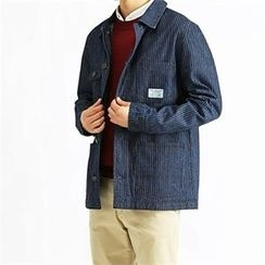 THE COVER - Multi-Pocket Stripe Denim Jacket